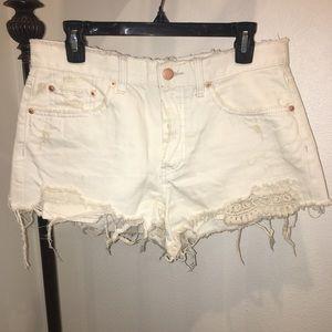 Free People Off-White Denim Shorts